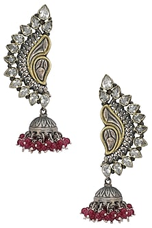 Silver and Gold Dual Plated Kundan and Pearl Jhumki Earrings by Zevar by Geeta