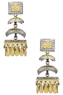 Silver and Gold Dual Plated Statement Earrings by Zevar by Geeta