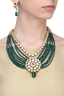Gold Finish Emerald and Kundan Stone Multi Strand Necklace Set by Zevar by Geeta
