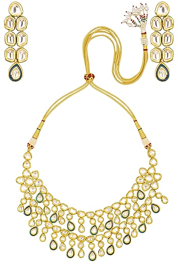 Gold Finish Kundan and Meena Work Double Line Necklace Set by Zevar by Geeta