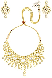 Gold Finish Kundan Stone Traditional Un-Shaped Necklace Set by Zevar by Geeta