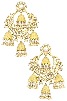 Gold Finish Kundan Stone and Pearl Jhumki Chand Bali Earrings by Zevar by Geeta
