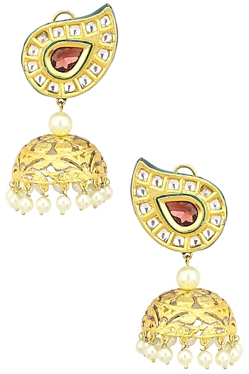 Gold Finish Kundan Stone Paisley Top Jhumki Earrings by Zevar by Geeta
