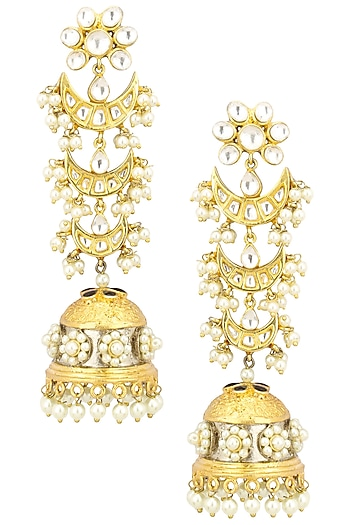 Gold Finish Kundan Stone and Pearl Flower Jhumki Earrings by Zevar by Geeta