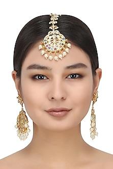 Gold Finish Kundan Stone and Pearls Maang Tikka by Zevar by Geeta