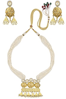 Gold Finish Kundan Stone Pendant Multiple Pearl String Necklace Set by Zevar by Geeta