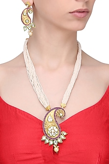 Gold Finish Paisley Pendant Multiple Pearl String Necklace Set by Zevar by Geeta