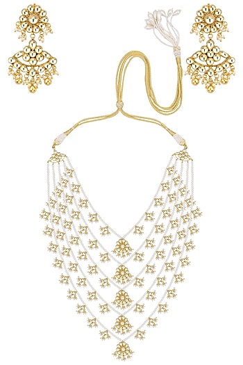 Gold Finish Kundan Stone 5 Line Long Necklace Set. by Zevar by Geeta