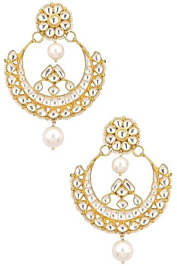 Gold Finish Kundan Stone and Pearl Chandbali Earrings by Zevar by Geeta