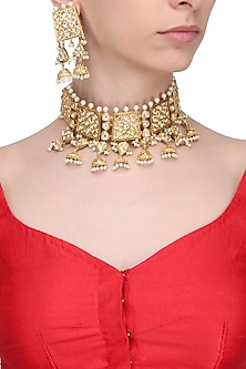 Gold Finish Kundan Stone Cutwork Choker Necklace Set by Zevar by Geeta