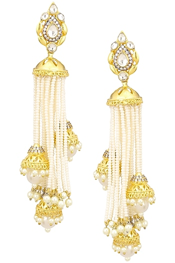 Gold Finish Kundan, Zircon and Pearl Jhumki Earrings by Zevar by Geeta