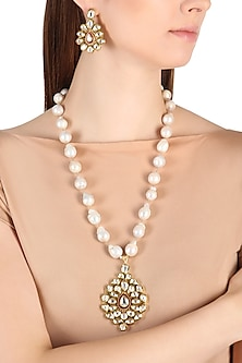 Gold Finish Kundan and Baroque Pearls Pendant Set by Zevar by Geeta