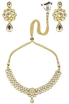 Gold Finish Kundan Stone Flower Necklace Set by Zevar by Geeta