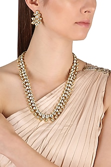 Gold Finish Kundan Necklace Set by Zevar by Geeta