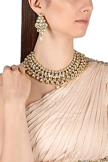 Gold Finish Kundan and Pearl Necklace Set by Zevar by Geeta