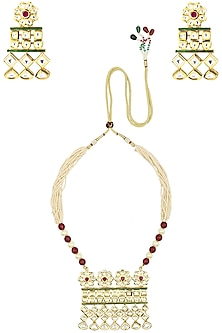 Gold Finish Kundan Floral Pendant Multiple Pearl String Necklace Set by Zevar by Geeta