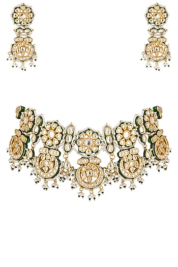Gold plated pearl choker necklace set by Zevar by Geeta