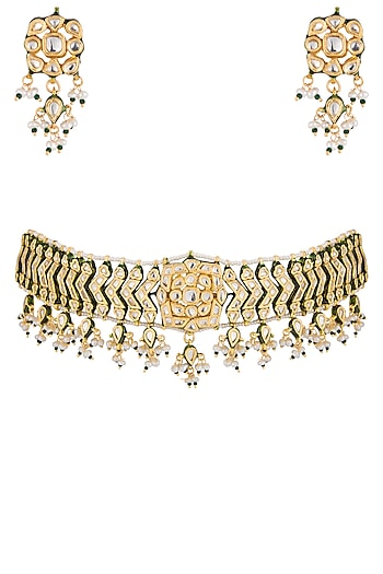 Gold plated glass and pearl choker necklace set by Zevar by Geeta