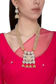 Gold plated kundan and pearls pendant necklace set by Zevar by Geeta