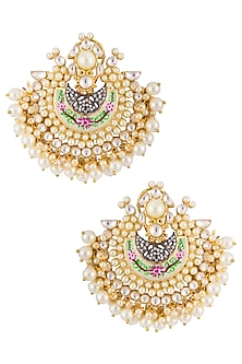 Gold plated meenakari pearl drop chandbali earrings by Zevar by Geeta