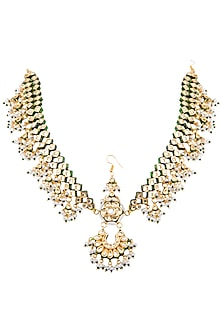 Gold Plated Glass & Pearl Meenakari Mathapati by Zevar by Geeta