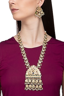 Gold Plated Kundan, Glass & Pearl Necklace Set by Zevar by Geeta
