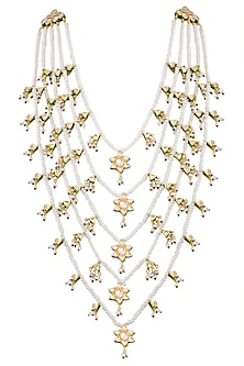 Gold Plated Glass & Pearl Necklace by Zevar by Geeta