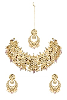 Gold Plated Kundan Choker Necklace Set With Maang Tikka by Zevar by Geeta