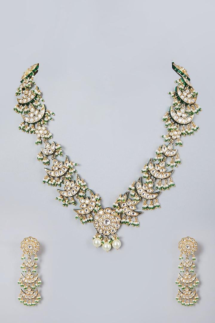 Gold Plated Kundan Polki Long Necklace Set by Zevar By Geeta