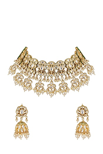 Gold Plated Pearl Drop Necklace Set by Zevar by Geeta