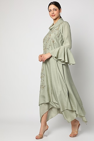 Greyish Green Zardosi Embroidered Tunic by zeel doshi thakkar
