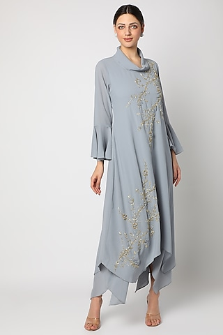Grey Embroidered Tunic by zeel doshi thakkar