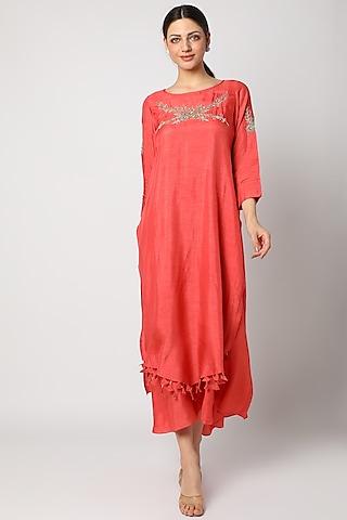 Orange Zardosi Embroidered Tunic by zeel doshi thakkar