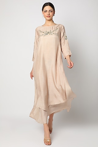 Beige Zardosi Embroidered Tunic by zeel doshi thakkar