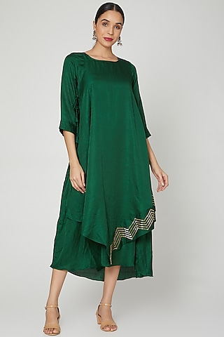 Mehendi Green Cape Tunic Dress by zeel doshi thakkar