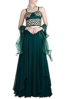 Bottle Green Embellished Lehenga Set by Zephyrr by G & M