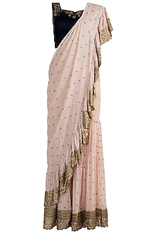 Peach Embroidered Sharara Set by Zephyrr by G & M