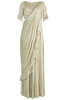 Sage Green Embroidered Palazzo Saree Set by Zephyrr by G & M