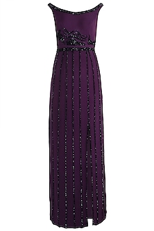 Purple Embroidered Slit Gown by Zephyrr by G & M