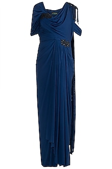 Midnight Blue Embroidered Saree Gown by Zephyrr by G & M