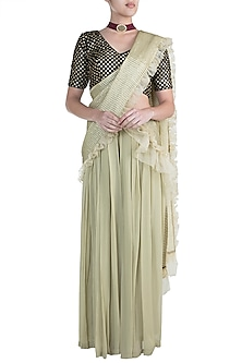 Sage Green Embellished Palazzo Saree Set by Zephyrr by G & M
