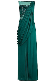 Emerald Green Embroidered Saree Gown by Zephyrr by G & M