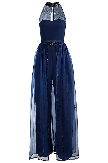 Midnight Blue Embroidered Jumpsuit With Detachable Skirt by Zephyrr by G & M
