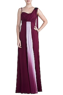 Wine Colored Embroidered Gown by Zephyrr by G & M