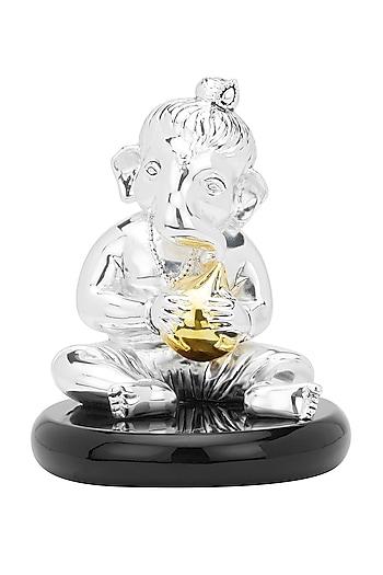 Silver Plated Ladoo Ganesha Idol by Shaze