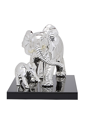Silver Plated Elephant With A Calf by Shaze