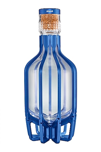 Glass Cage Decanter In Sapphire by Shaze