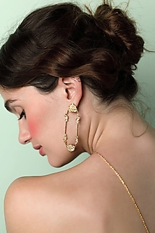Gold Plated Charpente Earrings by ZOHRA