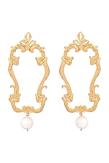 Gold Plated Versailles Pearl Earrings by ZOHRA