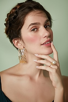 Gold Plated Le Balcon Earrings by ZOHRA
